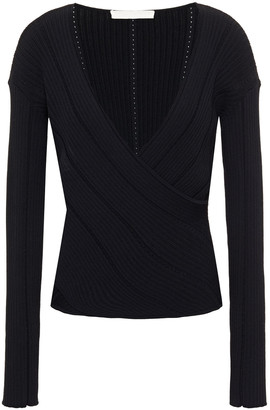 Jonathan Simkhai Wrap-effect Pointelle-trimmed Ribbed-knit Top