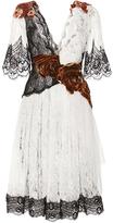 Rodarte Floral Embellished Lace Flutter Sleeve Dress