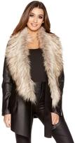 Quiz Black PU Fur Waterfall Jacket