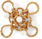 Ralph Lauren Crystal Pearl-Brass Brooch