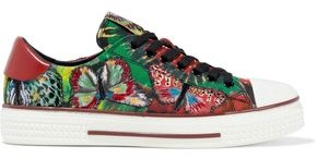 Valentino Garavani Embroidered Tie-dyed Canvas Sneakers