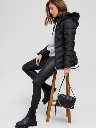 Very Short Padded Jacket With Faux Fur - Black