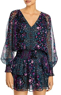 Ramy Brook Logan Printed Silk Mini Dress