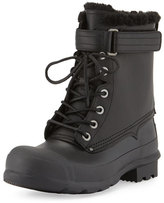 Hunter Rubber and Shearling Fur Lace-Up Boot, Black
