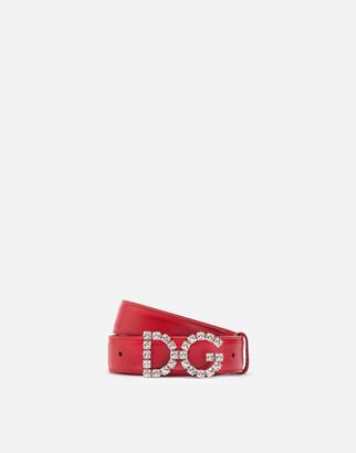 Dolce & Gabbana Calfskin Belt With Crystals Logo