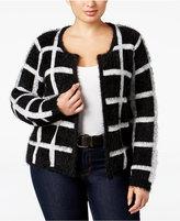 NY Collection Plus Size Windowpane Eyelash-Knit Cardigan