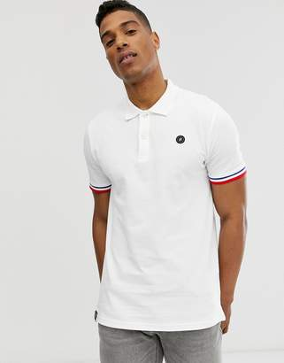 Jack and Jones Originals polo with taping in white