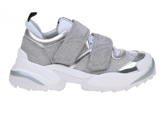 Sergio Rossi Extreme Sneakers In Glittered Leather And Silver Colored Fabric