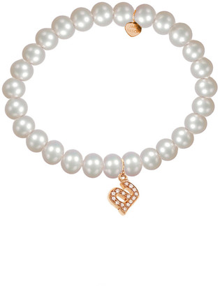Jane Basch 14K Rose Gold Diamond & 6Mm Pearl Initial Stretch Bracelet (A-Z)