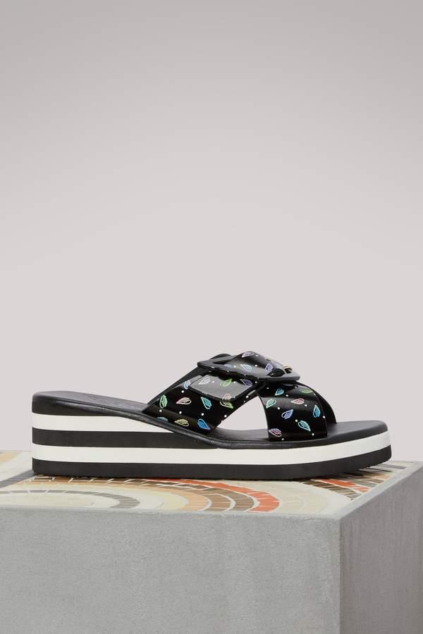 Ancient Greek Sandals Rainbow wedge sandals
