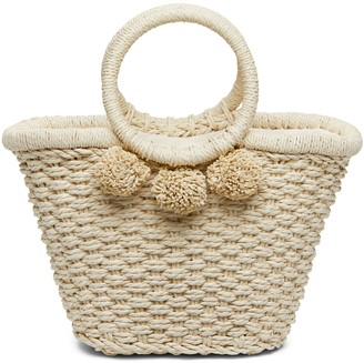 Banana Republic Pom Pom Straw Bucket Bag