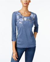Karen Scott Cotton Studded Mixed-Print Top, Created for Macy's