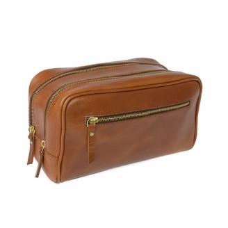 Vida Vida The Double-Up Tan Leather Wash Bag (3 Zip)