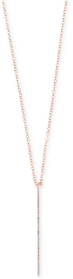 Effy Pave Rose by Diamond Vertical Bar Pendant Necklace (1/8 ct. t.w.) in 14k Rose Gold