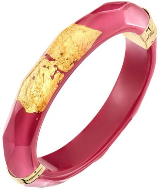Gold & Honey 24K Gold Leaf Thin Lucite Bangle In Pink