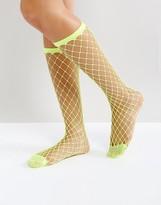 Asos Oversized Calf Length Fishnet Socks In Fluro