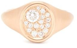 Jade Trau - Pave-diamond 18kt Gold Signet Ring - Womens - Rose Gold