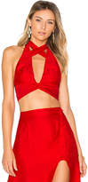 For Love & Lemons Gabriella Silk Dot Halter Top in Red. - size L (also in S,XS)