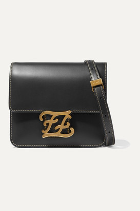 Fendi Karligraphy Leather Shoulder Bag - Black
