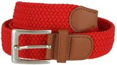 Belts Braided Elastic Fabric Woven Stretch Belt Leather Inlay (, Small)