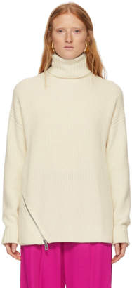 Tibi Off-White Cashmere Ribbed Turtleneck
