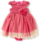 Bonnie Jean Bonnie Baby Baby Girls 12-24 Months Lace-Over-Sequin Bodice Mesh-Skirted Dress