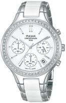 Pulsar White Dial Chronograph Swarovski Element Bezel Ladies Bracelet Watch