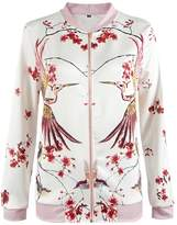 HowFitU Women's Casual Bomber Jacket Long Sleeve Zip Up Birds Floral Print
