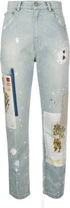 Monse Batnical patchwork straight-leg jeans