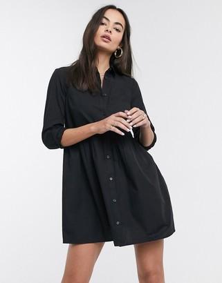 ASOS DESIGN cotton mini smock shirt dress in black