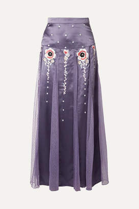 Temperley London Firebird Paneled Embroidered Satin And Swiss-dot Tulle Maxi Skirt - Lilac