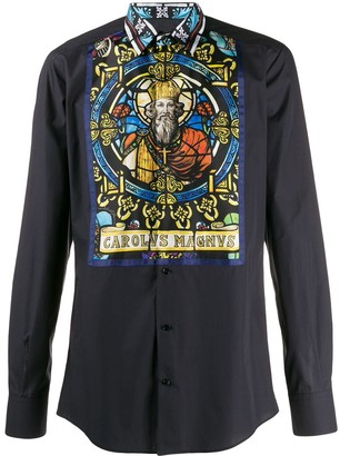 Dolce & Gabbana Gold-Fit printed silk placket shirt
