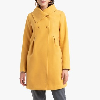 Anne Weyburn Double-Breasted Buttoned Coat with Pleats