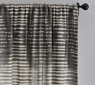 Pottery Barn Shibori Diamond Linen/Cotton Rod Pocket Curtain