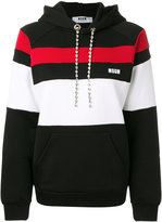 MSGM striped panelled hoodie with gemstone embellished drawstring