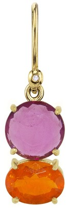 Irene Neuwirth One-Of-A-Kind Pink Tourmaline Circle and Oval Fire Opal Single Earring