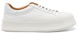 Jil Sander Ribbed-sole Leather Lace-up Trainers - White