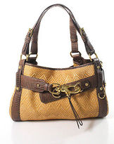 Francesco Biasia Multi-Color Straw Leather Gold Tone Shoulder Handbag
