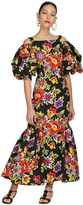 Carolina Herrera Floral Printed Cotton Faille Midi Dress