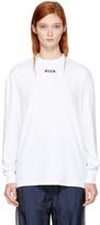 MSGM White Long Sleeve Logo T-shirt