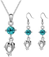 Babao Jewelry Double Play Dolphin 18K Platinum Plated Swarovski Elements Cubic Zirconia Crystal Pendant Necklace Earrings Set