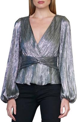 ML Monique Lhuillier Long-Sleeve Metallic Blouse w/ Ruched Waist