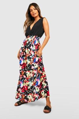 boohoo Rose Print Maxi Dress