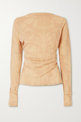 IOANNES Open-back Paneled Printed Stretch-jersey Top - Beige