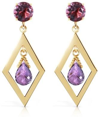 Overstock 2.4 Carat 14K Solid Gold Chandelier Earrings Amethyst