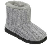 Dearfoams Marled Cable Knit Boot Slippers
