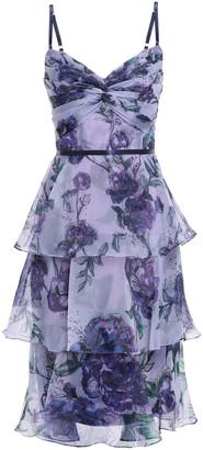 Marchesa Tiered Twist-front Floral-print Organza Dress