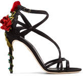 Dolce & Gabbana Velvet And Crystal-embellished Satin Sandals - Black