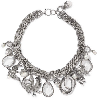 Alexander McQueen Silver-tone, Faux Pearl And Crystal Necklace