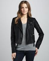 Free People Sunburst Faux-Leather Motorcycle Jacket, Black